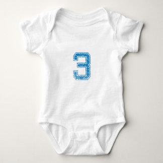 Blue Sports Jerzee Number 3 Baby Bodysuit