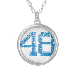 Blue Sports Jerzee Number 48 Silver Plated Necklace