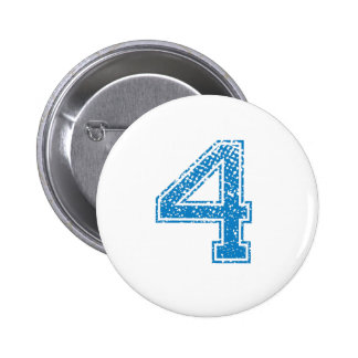 Blue Sports Jerzee Number 4 2 Inch Round Button