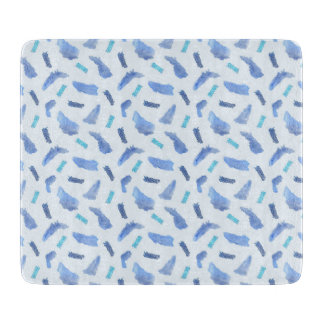 Blue Spots Glass Cutting Board 6'' x 7''