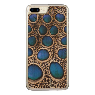 Blue spotted peacock pheasant carved iPhone 7 plus case