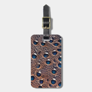 Blue Spotted Peacock Pheasant Feathers Luggage Tag
