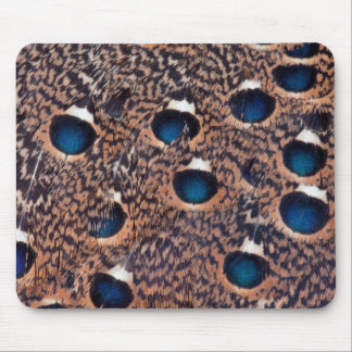 Blue Spotted Peacock Pheasant Feathers Mouse Pad
