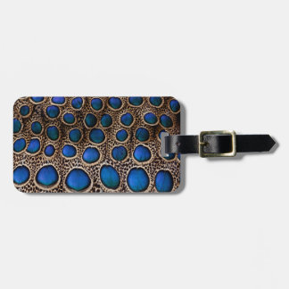 Blue spotted peacock pheasant luggage tag