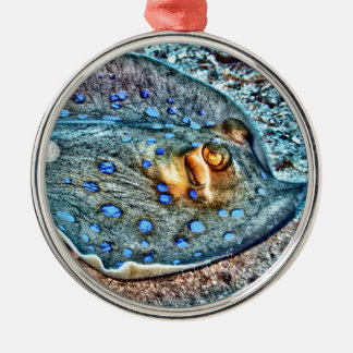 Blue Spotted Reef Ray Metal Ornament