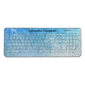 Blue Spray Paint Wireless Keyboard