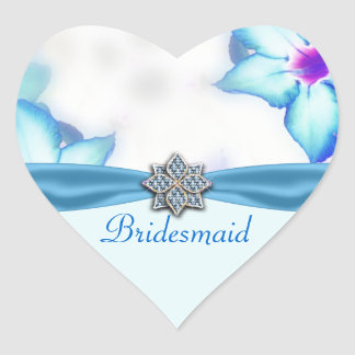 Blue Spring Flowers Watercolor Wedding Heart Sticker