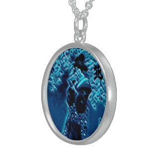 Blue Spring Round Sterling Silver Necklace