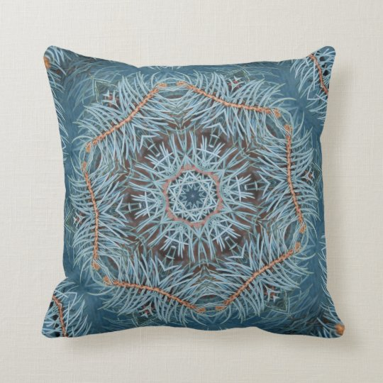 Blue Spruce Double Kaleidoscope Pillow
