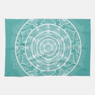 Blue Spruce Mandala Kitchen Towel