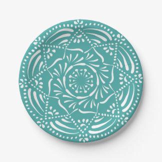 Blue Spruce Mandala Paper Plate
