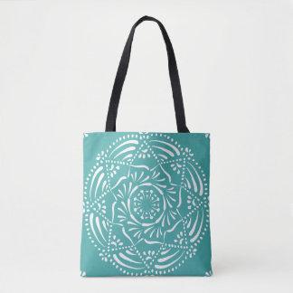 Blue Spruce Mandala Tote Bag