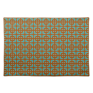 Blue Square Brown Pattern Placemat