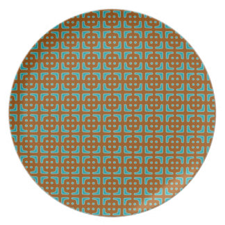 Blue Square Brown Pattern Plate