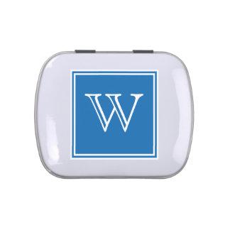 Blue Square Monogram Candy Tin
