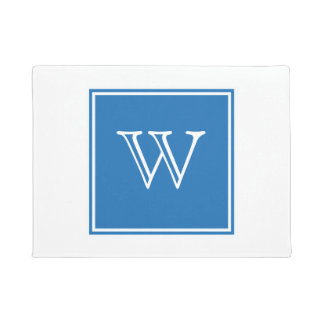 Blue Square Monogram Doormat