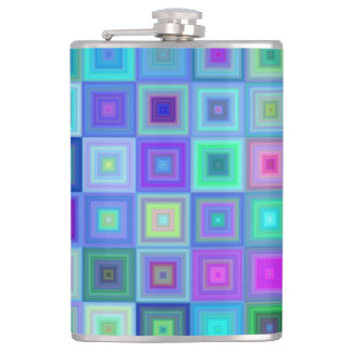 Blue square mosaic hip flask