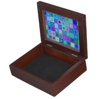 Blue square mosaic keepsake box