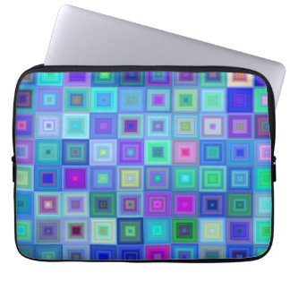Blue square mosaic laptop sleeves