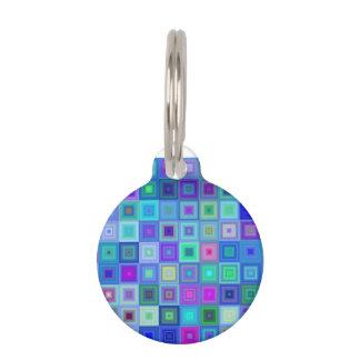 Blue square mosaic pet tag