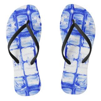 Blue Squares Flip Flops