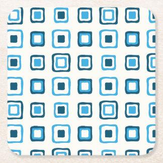 Blue Squares in Blue Squares - Reusable Square Paper Coaster