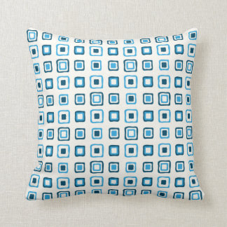 Blue Squares in Blue Squares Throw Pillow