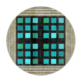 Blue Squares Pattern Cutting Board