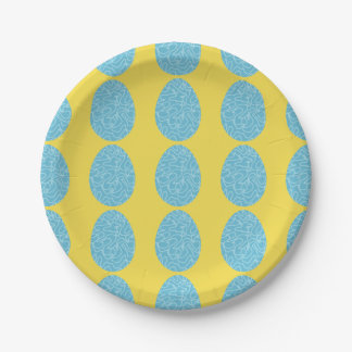 Blue Squiggle Easter Eggs 7 Inch Paper Plate