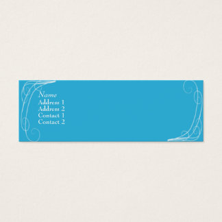 Blue Squiggles - skinny Mini Business Card