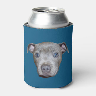 Blue Staffordshire Bull Terrier Face, Blue Can Cooler