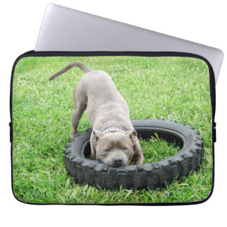 Blue Staffordshire Bull Terrier Play Time, Laptop Sleeve