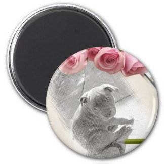 Blue Staffordshire bull terrier pup 2 Inch Round Magnet