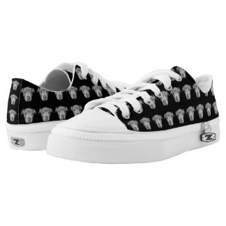 Blue Staffordshire Bull Terrier Puppy Face, Black Low-Top Sneakers