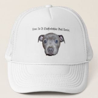 Blue Staffordshire Bull Terrier Puppy Face Love, Trucker Hat