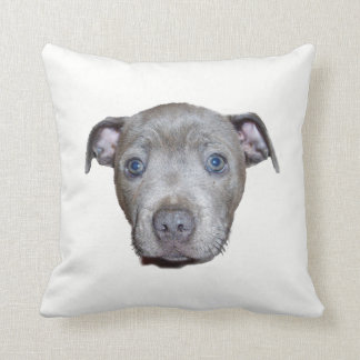Blue Staffordshire Bull Terrier Puppy Face, White Throw Pillow