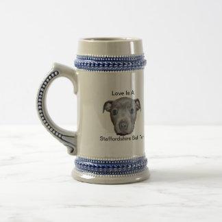 Blue Staffordshire Bull Terrier Puppy Love, Beer Stein