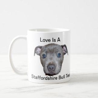 Blue Staffordshire Bull Terrier Puppy Love, Coffee Mug