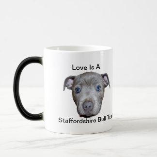 Blue Staffordshire Bull Terrier Puppy Love, Magic Mug