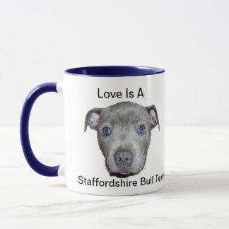 Blue Staffordshire Bull Terrier Puppy Love, Mug