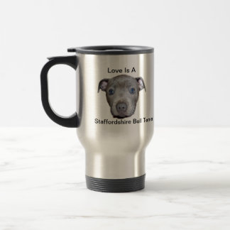 Blue Staffordshire Bull Terrier Puppy Love, Travel Mug