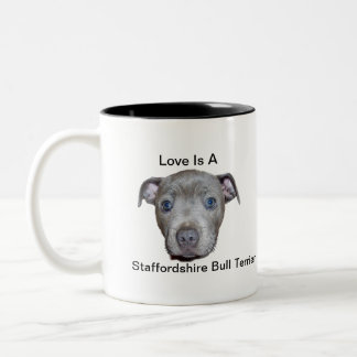Blue Staffordshire Bull Terrier Puppy Love, Two-Tone Coffee Mug