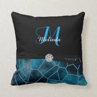 Blue Stain Glass Diamond Print | Personalize Throw Pillow