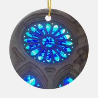 Blue Stained Glass Ceramic Ornament