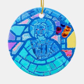 Blue stained glass Jesus Round Ceramic Ornament