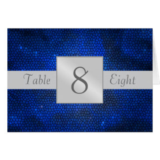 Blue Stained Glass Table Number Folded Card