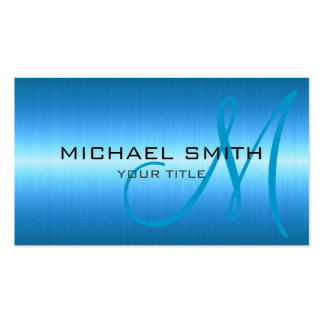 Blue Stainless Steel Metal Double-Sided Standard Business Cards (Pack Of 100)