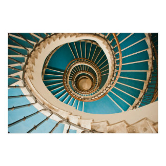 Blue staircase poster