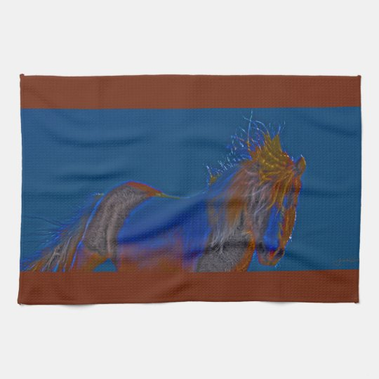 Blue Stallion Kitchen Towel Western Horse
