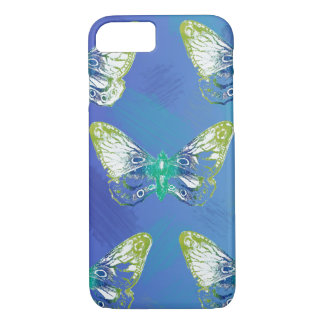Blue Stamp Butterfly Design Iphone Case